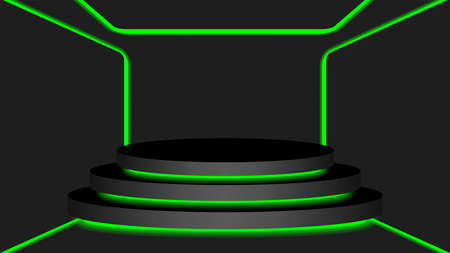 black circle pedestal 3d and green light neon lamp glowing, cosmetics display modern and led light, podium stage show for position decor green fluorescent glow light, pedestal box for product place