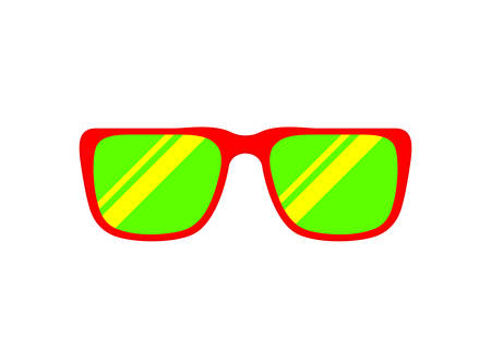 fashion glasses red green isolated on white for copy space, clip art glasses single flat top view, fashionable eyeglasses red for graphic sale banner ad discount, simple flat lay of sunglasses eyewear Çizim