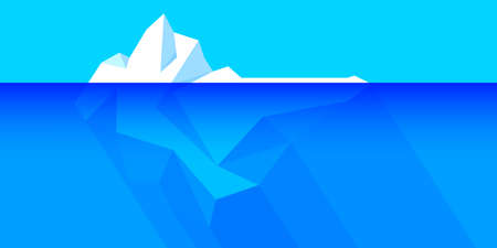iceberg floating on water and underwater part, iceberg in ocean for symbol climate change, big iceberg in arctic for environment and ecology concept, iceberg polar for flat infographics global warming