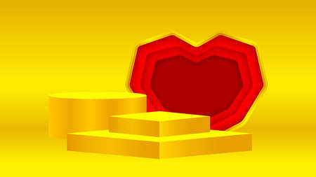luxury pedestal gold 3d and red heart shape, gold pedestal circle box for cosmetics product display show, golden podium stage show for deluxe victory position, circle stand of product place decoration