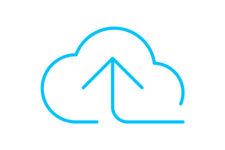 cloud and arrow symbol for icon with line thin, simple line arrow up blue cloud, icons add data to cloud for ui ux website or mobile application, cloud of upload download, element of storage network