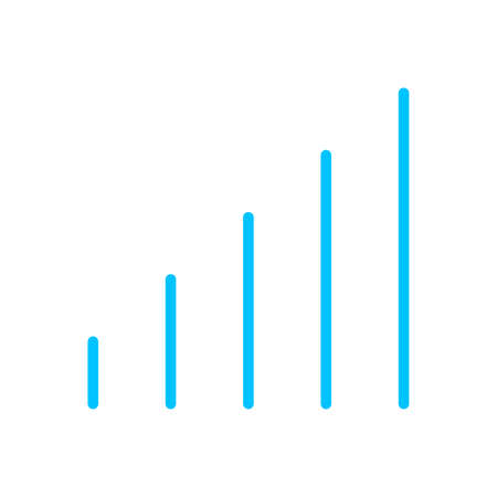 blue line graph symbol for icon, simple line bar chart, icon signal for data ux ui website or mobile application, signal graph for different bar levels, graph line for element signal network