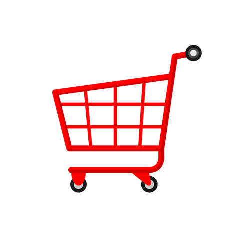 red cart for icon shopping online isolated on white, basket cart for purchase in online shop, trolley cart symbol for e-commerce, clip art red cart for shopping concept