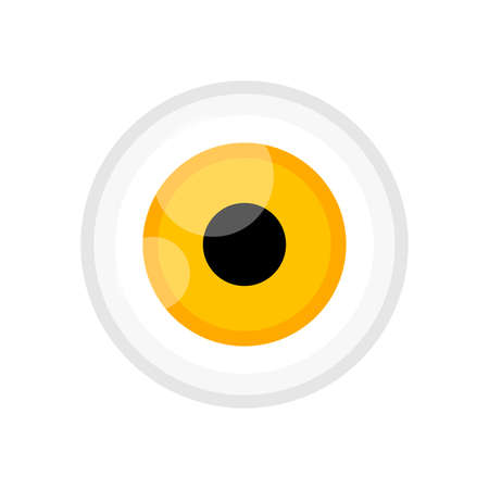 eyeball yellow color isolated on white, eye graphic yellow for icon, eyeball illustration for clip art, eyesight symbol, eyeball cartoon for look view vision and see concept 向量圖像