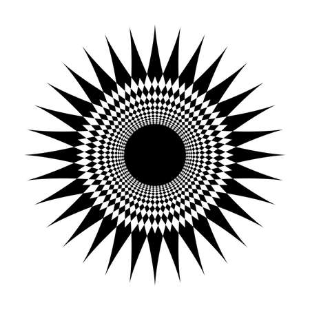 star shape swirl isolated on white background, radius art line star swirl and cycle wave, optical line wave twirl black circle, dynamic motion curve of lines flowing wave, lines wave shaped star Vettoriali