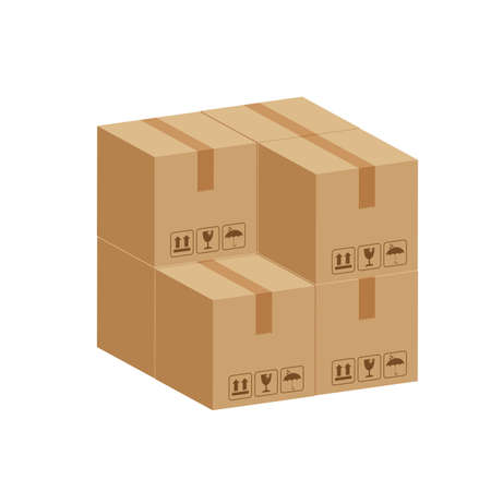 pile crate boxes 3d cube, cardboard box for factory warehouse storage, cardboard parcel boxes stack of warehouse factory, packaging cargo, boxes brown isolated on white background