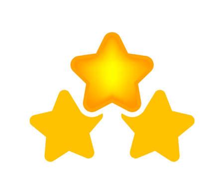 three stars icon cute isolated on white background, cartoon star shape yellow orange, illustration simple star rating symbol, pentagram star for decoration ranking award