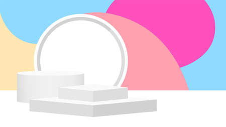 pedestal award 3d white grey on pastel background, podium stage for victory champion position, pedestal ellipse box for cosmetics product display show, circle stand modern for products make-up place