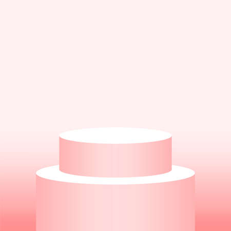 red soft pedestal cylinder for cosmetics showcase, podium circle stage red pastel soft color, podium round pink gold for make-up product display, copy space