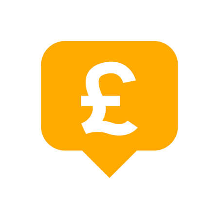 pound currency symbol in speech bubble square shape for icon, orange pound money for app symbol isolated on white, currency digital pound icon for financial concept 向量圖像