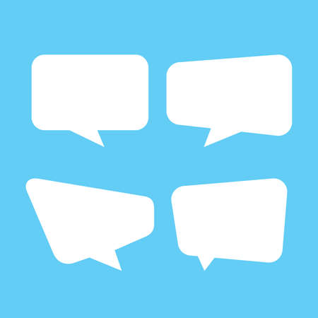 white speech bubble isolated on blue, speech balloon square sign for communication symbol, doodle white speech bubble for talk text, balloon message icon, dialog chatting graphic for icon talk Vector Illustratie