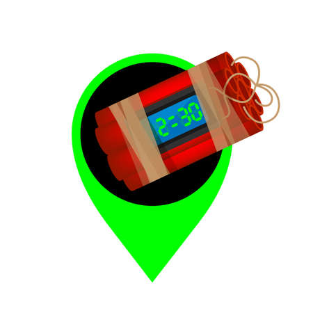 blast bomb of terrorist in the green pin icon for location pointer, explode a bomb dynamite with pointer marker pin for map place, bomb drop over pin symbol marker sign green, isolated on white