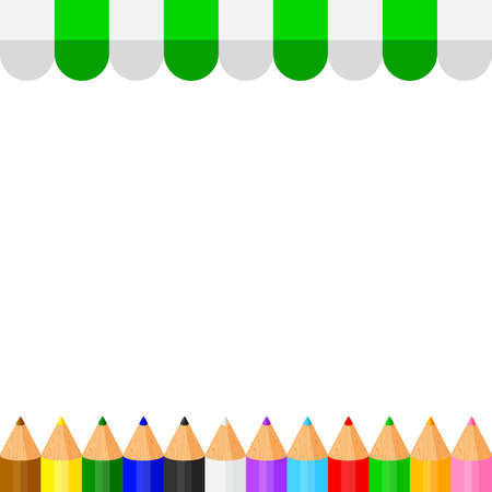colorful crayon pastel pencils cute in a row on banner awning copy space, collection colored pencils rows for banner preschool kids, clip art crayon pencil, rainbow pencil kindergarten child learning Illustration