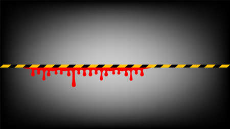 tape line yellow black stripe and blood drop isolated black background, warning space with ribbon tape sign or comfort safety zone, safety banner for copy space, red blood on yellow black stripe tape