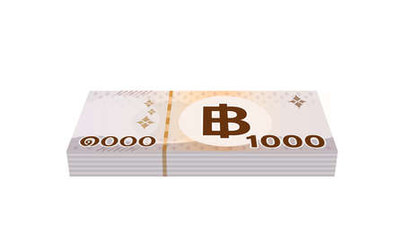 pile money 1000 baht banknote thai, currency stack of one thousand THB type, bank note money thailand baht for business and finance icon, paper money thai isolated on white