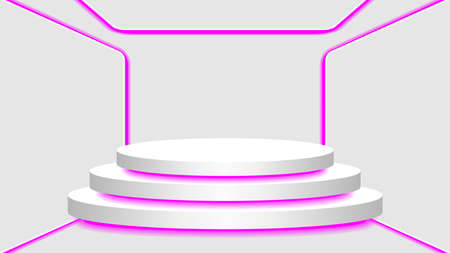 pedestal 3d and purple light neon lamp glowing in empty interior room, cosmetics display modern and LED light, podium stage and purple fluorescent glow light decor, pedestal circle for product place