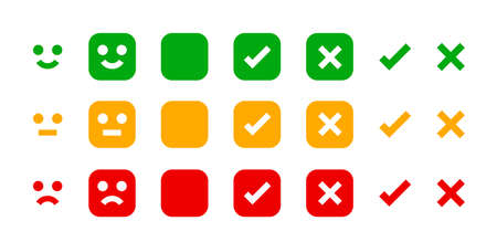 icon emotions face, emotional symbol and approval check sign button, emotions faces and checkmark x or confirm and deny, button checkbox flat for apps, faces icons and checkmark choice for checklist Vetores