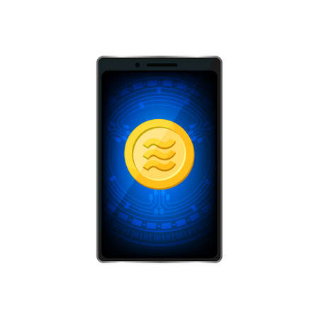 Coin gold realistic Libra Calibra currency in smart phone screen, Libra Calibra golden coin in mobile smart phone with mobile banking application, Digital currency money coins financial