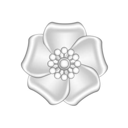 single flowers silver ornate isolated on white background, luxury flower petal silver simple, silver flowers object metal sculpture, illustration of deluxe silver flower, clip art flowers luxurious Vectores