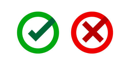 checkmark and x or confirm and deny circle icon button flat for apps and websites symbol, icon checkmark choice, checkbox button for choose, circle answer box for checklist, approval check sign button Vector Illustratie