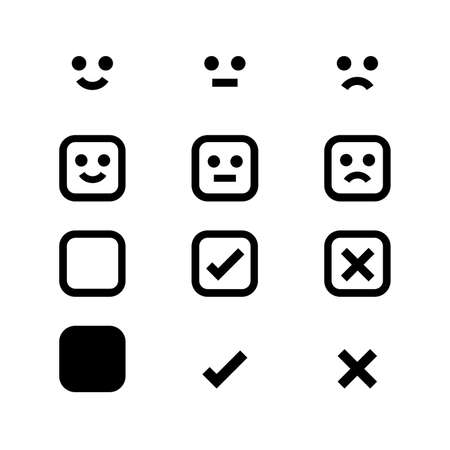 emotions face black icon, emotional symbol and approval check sign button, black emotions faces and check mark x or confirm and deny, button white flat for apps, black icons checkmark Vettoriali