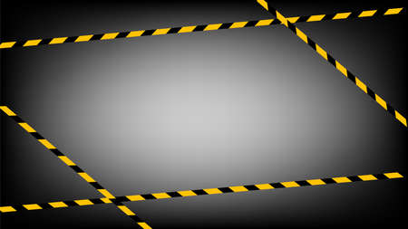 caution tape line, tape yellow black stripe pattern on dark black for background, warning space with ribbon tape sign for comfort safety zone, safety banner for copy space, ribbon yellow black stripe Ilustracja