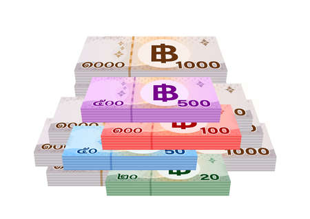pile banknote money thai baht (1,000, 500, 100, 50 and 20 type), stack currency money THB of thailand, bank note money for business and finance concept, paper money for savings idea, isolated on white