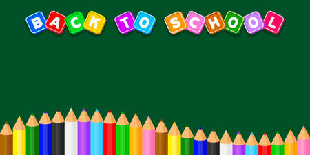 back to school text on blackboard school for banner background, colorful pencils crayon pastel cute in a row on green copy space, cute lettering back to school on chalkboard for alphabet writing