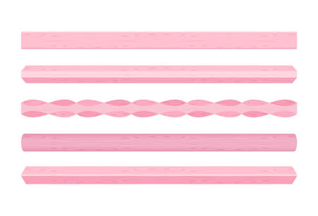 wooden vertical lath different pink pastel soft colors isolated on white background, wooden slat poles pink pastel color