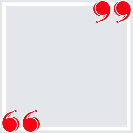 banner frame gray with red quotation symbol, quote box frame simple and cute, quote boxes for template design text info, speech bubble square frame and bracket red for copy space, commas frame