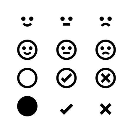 circle black icon emotions face, emotional symbol and approval check sign button, black emotions faces and check mark x or confirm and deny, button circle flat for apps, black icons checkmark