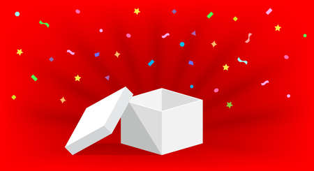 empty box open isolated on red background, open white box for surprise or gift present, blank box copy space for greeting text concept, white gift box and ribbon confetti colorful