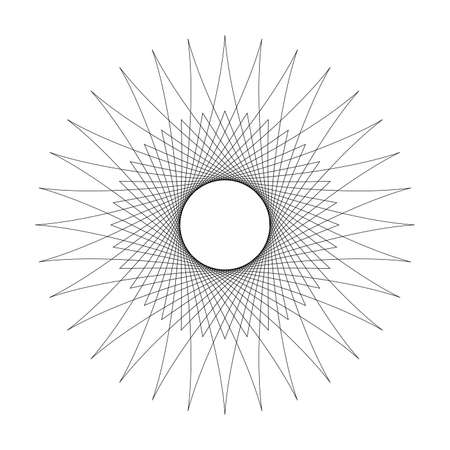 line star shape swirl isolated on white background, radius art lines star swirl and cycle wave, optical line wave twirl black circle, dynamic motion curve of lines flowing wave, lines wave shaped star Vettoriali