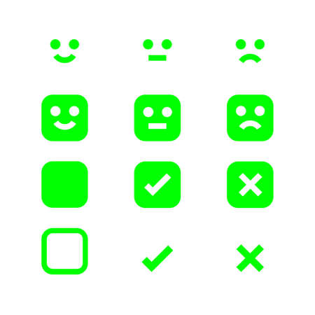 green glowing icon emotions face, emotional symbol and approval check sign button, fluorescent emotions faces and checkmark x or confirm and deny, button glowing flat for apps, icons checkmark shining