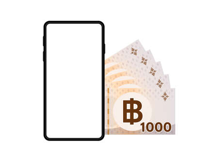 banknote money thai 1,000 baht and smartphone screen isolated on white, smart phone screen and money thailand THB, mobile phone wallet, paper money and smartphone, online shopping concept Reklamní fotografie - 150528601