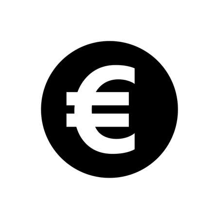 euro currency coin black for icon isolated on white, euro money for app symbol, simple flat euro money, currency digital euro coin for financial concept