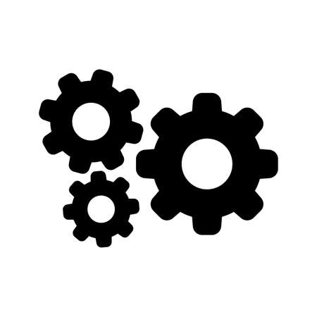 cog black for mechanization icon isolated on white, gear symbol for button black icon for progress web, simple circle cog shape for engineering mechanism, machinery industrial technology sign.