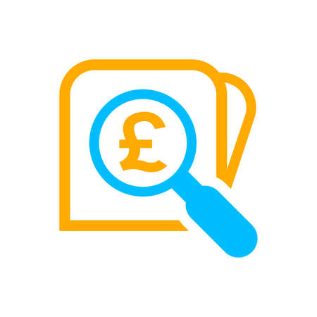 magnifying glass with pound currency money search icon, pound coin with magnifying glass for button app, research icon blue on orange wallet, pound money symbol in search symbol isolated on white
