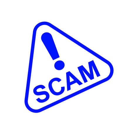 scam triangle sign blue for icon isolated on white, scam warning sign graphic for spam email message and error virus, scam alert icon triangle for hacking crime technology symbol concept