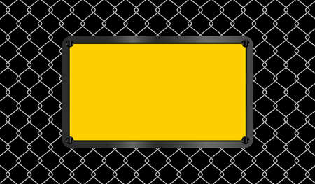 rectangle sign yellow on wire mesh black background, caution emblem on fence barb grid, copy space, empty warning sign template on barrier wire net, barbed wire fence wall and emblem warning sign  イラスト・ベクター素材