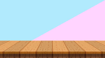 table wood plank on purple blue pastel wall background, empty wooden table floor for display and copy space, blank table top wooden for decoration banner ad, vintage table wood plank in front view