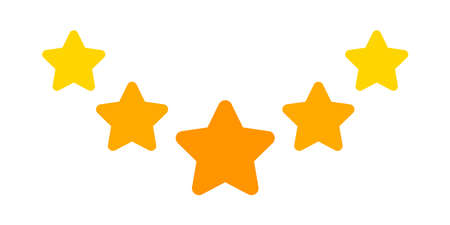 five stars icon cute isolated on white background, chic 5 star shape yellow orange, illustration simple star rating symbol, clip art 5 star for logo, pentagram five star for decoration ranking award Vettoriali
