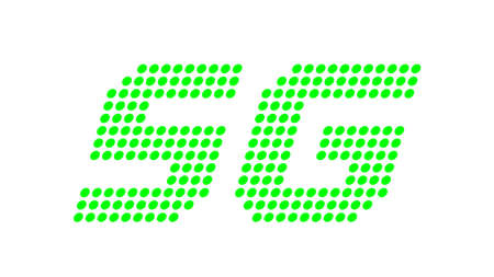 5G logo dot font for technology future, numbers 5 and G symbol green bright, green 5G alphabet for business digital network global concept
