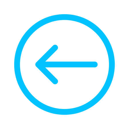arrow line pointing left in circle blue isolated on white, arrow in circular strokes for direction left, arrows button simple graphic, line arrow symbol in circle for ui app, arrowhead pointer left