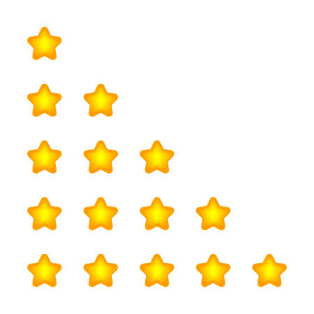 rating 5 stars cute for review isolated on white, five stars for ranking award, yellow stars of choice quality, orange star of rank vote or review best, pentagram 5 stars icon flat simple for app web