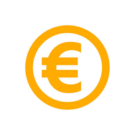 euro currency coin orange for icon isolated on white, euro money for app symbol, simple flat euro money, currency digital euro coin for financial concept