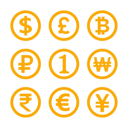 money symbol set isolated on white, international, currency icon yellow gold, golden money emblem for financial clip art, money currency sign dollar, euro, baht, yen, one, 1, won, rupee and others