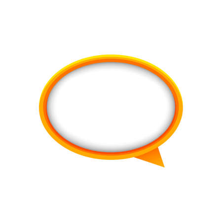speech bubble orange ellipse isolated on white, bubble chat sign for icon speak or talk, balloon speech for message copy space text, dialog box chat symbol, modern speech bubble, conversation concept