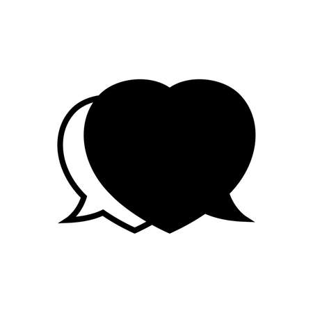 speech bubble heart shape black isolated on white, dialog heart for graphic chat talk sign, speech bubble for copy space, conversation comic heart symbol, heart shape black balloon for dialog speech