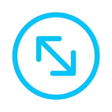 arrow line pointing left up and down in circle blue isolated on white, arrow in circular strokes for direction left up down, arrows button simple, arrow symbol circle for ui app, arrowhead pointer